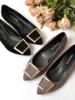 優雅方型釦飾平底鞋-女裝,內衣,睡衣,女鞋,洋裝