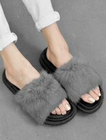 寬版絨毛厚底拖鞋-女裝,內衣,睡衣,女鞋,洋裝