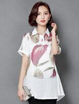 印花短袖假兩件雪紡衣-女裝,內衣,睡衣,女鞋,洋裝