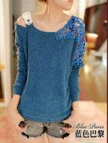 ✿ 藍色巴黎 ✿肩帶亮片雕花蕾絲針織衫《 4色》↘ 299元