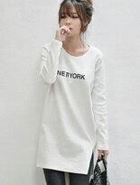 長版下擺開衩長袖T恤-女裝,內衣,睡衣,女鞋,洋裝