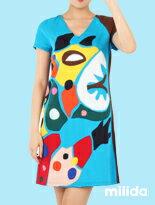 撞色袖繽紛拼貼洋裝-女裝,內衣,睡衣,女鞋,洋裝