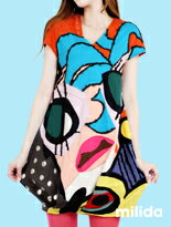 俏皮抽象畫派拼貼洋裝-女裝,內衣,睡衣,女鞋,洋裝