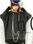 日本製蝴蝶袖雙色長上衣