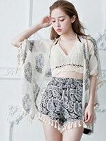【LULUS】圖樣垂流蘇雪紡開襟罩衫↘$250