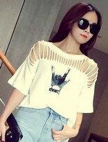 【美麗大街網路購物】韓版ROCK手勢短袖T恤↘$199