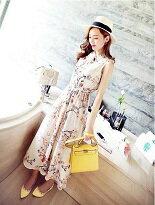 【weii-fu】韓國夏裝印花長款無袖洋裝連衣裙  581$