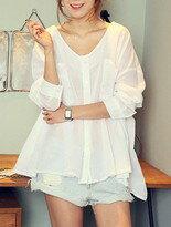 【享瘦衣舍大小尺碼旗艦店】浪漫甜美風綁帶造型襯衫↘$389