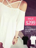 【eFashion】交叉帶一字領素色長版T↘免運$299