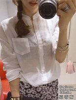 【嘉蒂斯】韓版寬鬆棉麻休閒微透長袖襯衫