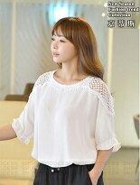 【嘉蒂斯】韓版簍空花邊裝飾寬鬆T恤