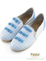 【Paidal】千鳥格小蝴蝶結舒適懶人鞋