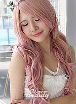 淺米金粉紅混色長瀏海波浪捲髮