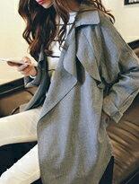 【嘉蒂斯】歐美風大翻領寬鬆西裝長版薄外套↘$299