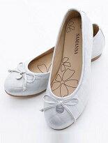 【SAMANSA】金屬Logo 蝶飾 菱紋娃娃鞋