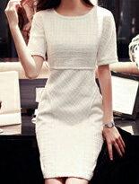 【INDress】雙口袋線條壓紋修身圓領洋裝↘$600