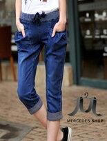 【梅西蒂絲】歐美鬆緊腰綁帶牛仔七分褲↘$575