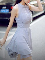 【INDress 】浪漫雪紡透膚削肩露背多層次洋裝↘$829