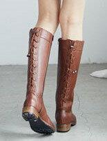 【蘋果奈奈】可調整筒圍後綁繩全真皮牛津長靴↘$3,980