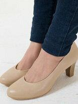 【SAMANSA】歐美經典復古素色粗跟中跟鞋↘$1380