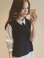 【衣架子】韓版假兩件襯衫↘$249