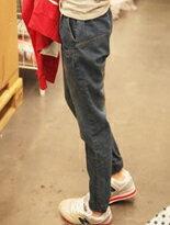 【BOBI】抽繩刷白哈倫褲牛仔長褲↘$299