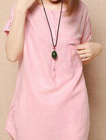韓版小清新圓領寬鬆顯瘦棉麻短袖襯衫