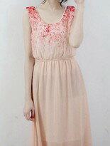 日系甜美櫻花柳藤渲染花朵縮腰連身無袖洋裝