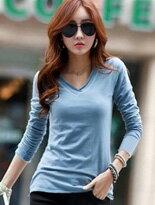 【OREAD】韓版大碼修身長袖T恤女上衣V領打底衫↘$256