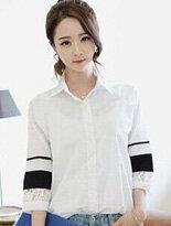 【梅西蒂絲】白色蕾絲拼接休閒襯衫↘$419