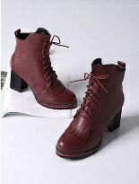 【Lane172】英倫風真皮粗跟帶短筒靴