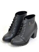 【山打努鞋業】綁帶側扣中跟短靴