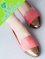 【Shoes Party】MIT金屬斜拼接皮革歐貝拉鞋