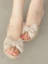 雙蝴蝶結LOGO楔型拖鞋