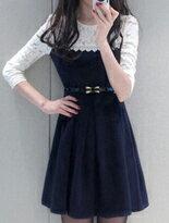 【梅西蒂絲】學院風假兩件蕾絲洋裝↘$329
