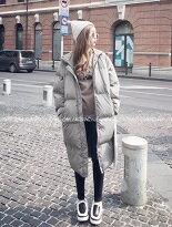 【shiny藍格子】保暖中長款連帽大衣外套