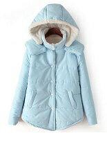 【shiny藍格子】羊羔棉襖連帽長袖外套