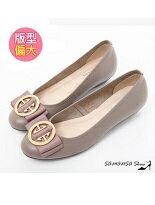 【SAMANSA】大圓釦牛皮低跟鞋