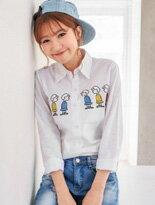 【MIUSTAR】圖騰刺繡混棉麻白襯衫-4款↘$199