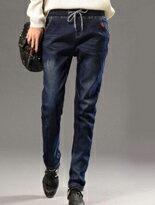 【BOBO小中大尺碼】中腰寬版鬆緊紅格牛仔哈倫褲↘$375