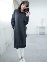 【eFashion】羅紋刷毛厚棉長版上衣