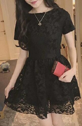 紗鉤花裙短袖洋裝-女裝,內衣,睡衣,女鞋,洋裝
