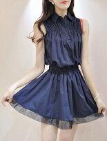 時尚網紗裙擺無袖洋裝-女裝,內衣,睡衣,女鞋,洋裝