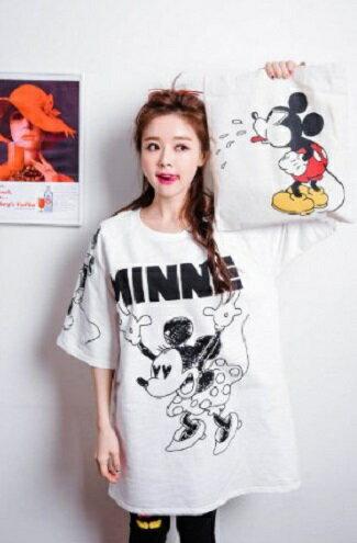 卡通鼠印花短袖T恤-女裝,內衣,睡衣,女鞋,洋裝