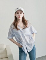 P白釦雙口袋格紋襯衫-女裝,內衣,睡衣,女鞋,洋裝