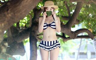 條紋鋼圈二件式泳衣泳裝-女裝,內衣,睡衣,女鞋,洋裝