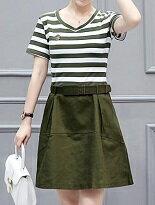 條紋假兩件連身裙-女裝,內衣,睡衣,女鞋,洋裝