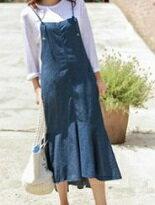 長荷葉邊魚尾牛仔連身-女裝,內衣,睡衣,女鞋,洋裝