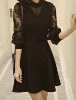 蕾絲雕花綁帶長袖洋裝-女裝,內衣,睡衣,女鞋,洋裝