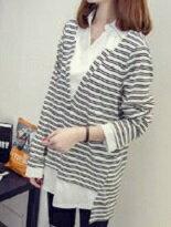 韓版條紋中長款假兩件-女裝,內衣,睡衣,女鞋,洋裝
